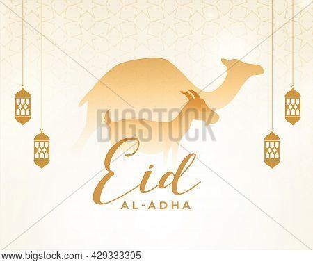 Eid Al Adha Islamic Greeting With Camel And Goat Design