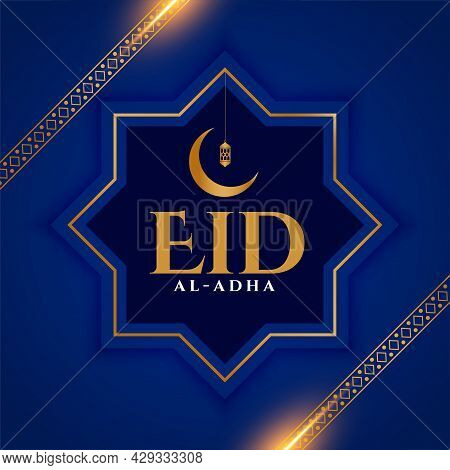 Stylish Eid Al Adha Blue Islamic Card Design Vector Illustration