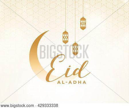 Eid Al Adha Festival Card In Clean Style Design Vector Illustration