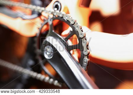 Bicycle Chain And Chrome Pedal Closeup. Bicycle Spare Parts