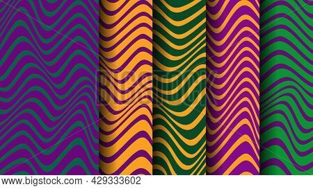 Vector Background With Mardi Gras Stripes. Undulating Pattern
