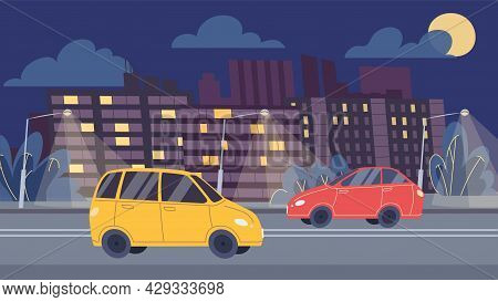 Vector Flat Cartoon Cars Drive Along Night Road, Highway Traffic On Cityscape Background-web Online