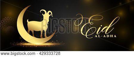 Beautiful Golden Eid Al Adha Shiny Banner Design Vector Illustration