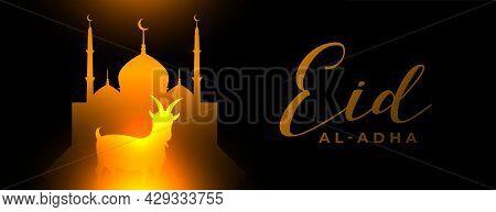 Glowing Eid Al Adha Arabic Festival Banner Design Vector Illustration