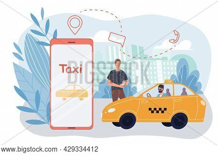 Vector Cartoon Flat Man Character Orders Taxi.happy Smiling Customer Ordering Cab On Mobile App Smar
