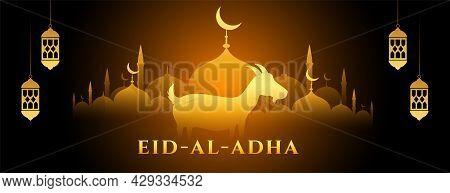 Glowing Eid Al Adha Bakrid Banner Design Vector Illustration