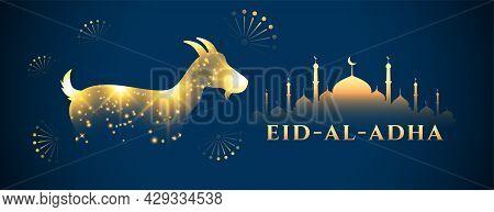 Shiny Golden Eid Al Adha Festival Banner Design Vector Illustration
