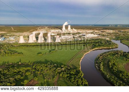 Nuclear Power Plant Generate Nuclear Power Or Electricity. Atomic Power Stations Sources Of Electric
