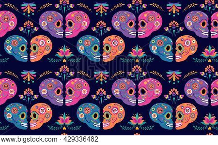 Day Of The Dead Seamless Pattern And Background With Colorful Skulls And Mexican Traditional Flowers