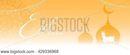 Elegant Eid Al Adha Muslim Festival Banner Design Vector Illustration