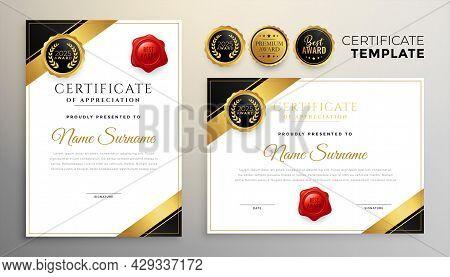 Premium Golden Diploma Certificate Multipurpose Template Design Vector Illustration