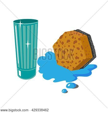 Yellow Porous Sponge For Washing Dishes And An Empty Clean Glass, Isolated On A White Background. A