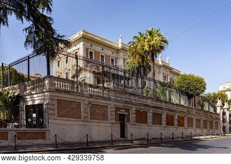 View To The American Embassy In Rome, Italy Located In An Old Historic Palace In Quarter Lodovisi In