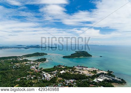 High Angle View Phuket Island And Harbor Located In Phuket Thailand Aerial View Drone Top Down Amazi