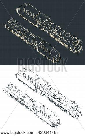Steam Locomotive Isometric Blueprints