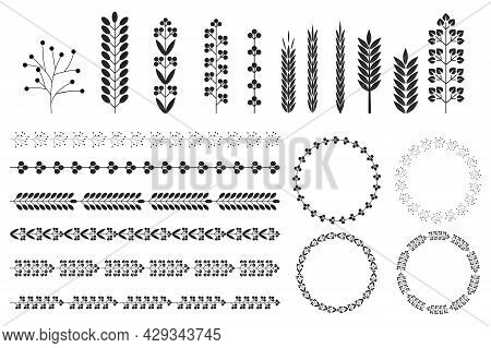 Wreaths Spikelets Set Pattern For Decorative Design. Ear Icon. Floral Branch. Wedding Decoration. Ve