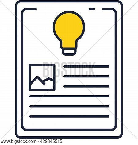 Intellectual Property Patent Flat Vector Line Icon