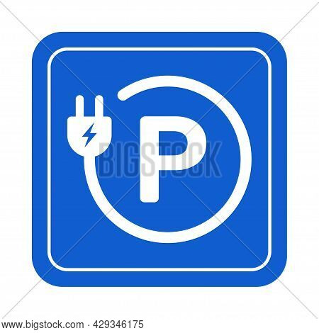 Ev Electric Car Park Charging Station Sign Icon Vector Green Energy Concept For Graphic Design, Logo