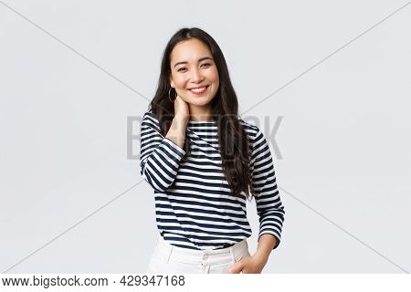 Lifestyle, People Emotions And Casual Concept. Joyful Beautiful Asian Woman In Stylish Casual Clothe