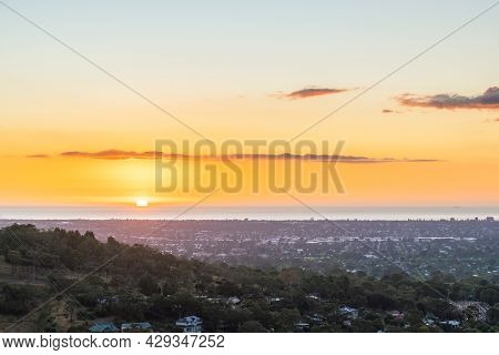 Spectacular Sunset Above Adelaide Suburbs Viewed From The Carrick Hill, South Australia