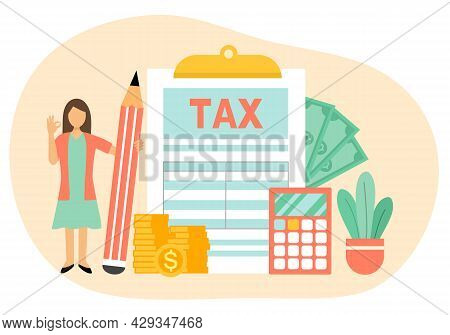 Tax Payment Concept Vector Illustration. Financial Analysis Report And Calculation Of Tax Return. De
