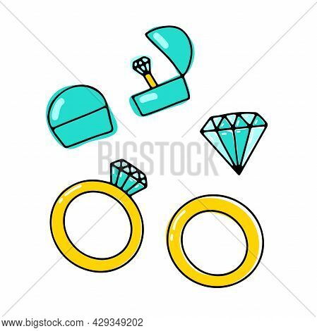 Doodle Diamond Ring In A Box Set. A Hand-drawn Piece Of Jewelry With Brilliant Gemstone. A Bridal Ri