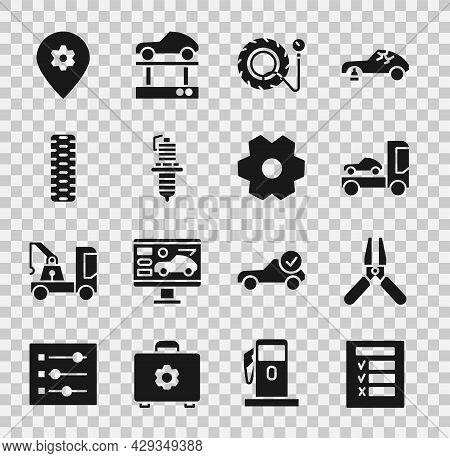 Set Car Inspection, Battery Jumper Power Cable, Transporter Truck, Tire Pressure Gauge, Spark Plug,