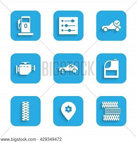 Set Broken Car, Location With Service, Car Tire Wheel, Canister For Motor Machine Oil, Check Engine,