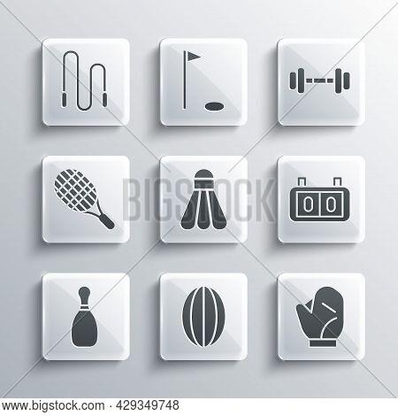 Set Rugby Ball, Baseball Glove, Sport Mechanical Scoreboard, Badminton Shuttlecock, Bowling Pin, Ten