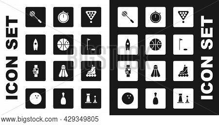 Set Billiard Balls In Rack Triangle, Basketball, Surfboard, Tennis Racket, Golf Flag, Stopwatch, Rol