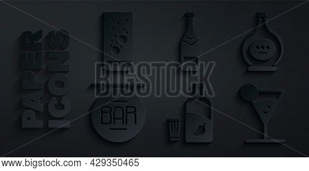 Set Vodka With Pepper And Glass, Bottle Of Cognac Or Brandy, Street Signboard Bar, Martini, Champagn