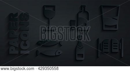 Set Champagne Bottle, Glass Of Vodka, Dried Fish, Saloon Door, Vodka With Pepper And Glass And Wine