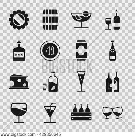 Set Glass Of Cognac Or Brandy, Bottles Wine, Champagne Bottle, Cocktail, Alcohol 18 Plus, Drink Rum,