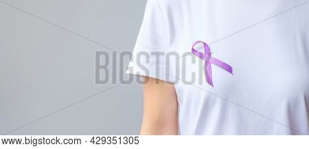 Purple Ribbon For Pancreatic, Esophageal, Testicular Cancer, World Alzheimer, Epilepsy, Lupus, Sarco