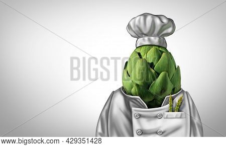 Vegan Cuisine And Vegetarian Chef Recipe Or Veganism Lifestyle Icon As An Artichoke Shaped As A Heal
