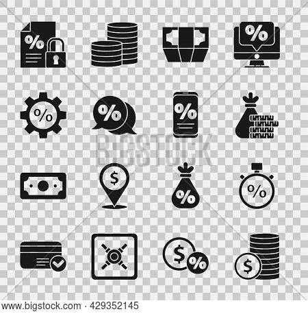 Set Coin Money With Dollar, Stopwatch And Percent, Money Bag Coin, Stacks Paper Cash, Discount Tag,