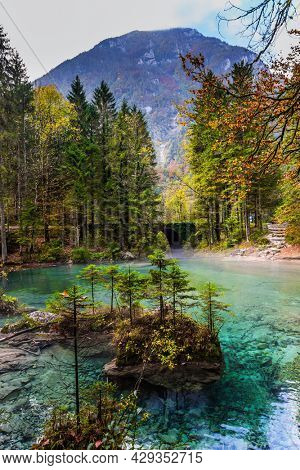 Julian Alps, Slovenia. Picturesque shallow lake with glacial greenish water, covered with fallen leaves. Light fog rises above the water. Autumn forest in a mountain valley