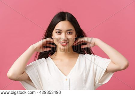 Beauty Products Advertisement, Haircare And Women Fashion Concept. Sensual And Tender Attractive Asi