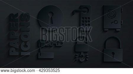 Set Key Broke Inside Of Padlock, Safe, Marked Key, Lock, Digital Door And Keyhole Icon. Vector