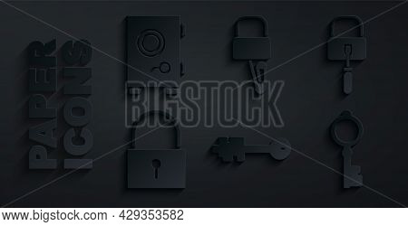 Set Old Key, Lock Picks For Lock Picking, And Safe Icon. Vector