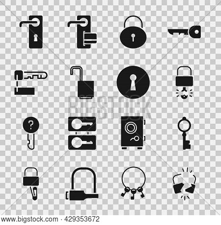 Set Broken Or Cracked Lock, Old Key, Key Broke Inside Of Padlock, Lock, Open, Marked, Door Handle An