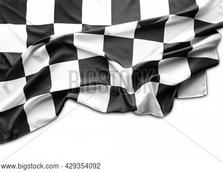 Checkered black and white racing flag on white background