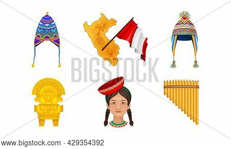 Peru Country Attributes With Panpipe, Totem And Country Border Or Boundary Vector Set