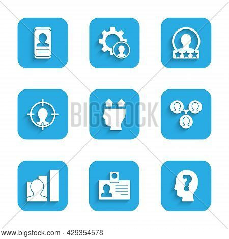 Set User Of Man, Identification Badge, Head With Question Mark, Project Team Base, Productive Human,