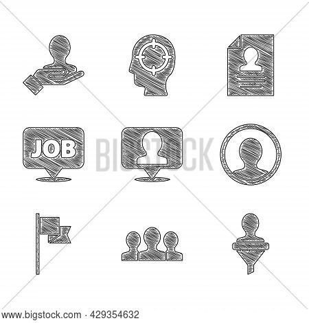 Set Location With Person, Users Group, Head Hunting, Create Account Screen, Marker, Speech Bubble Jo