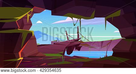 View From Cave In Rock To Wooden Suspension Bridge Over River. Vector Cartoon Illustration Of Mounta