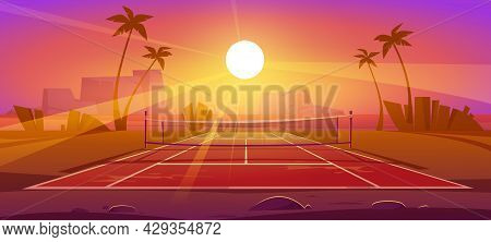 Tennis Court, Outdoor Field For Sport Exercises With Net And Markup Lines On Ground, Private Stadium