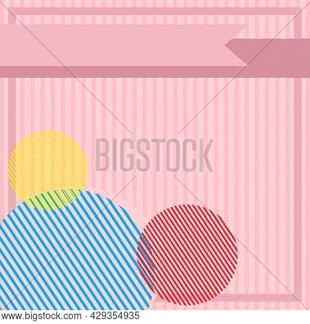 Vector Illustration Of Pink Stripes Background. Aesthetics Template. Minimalist Background. Soft Pin