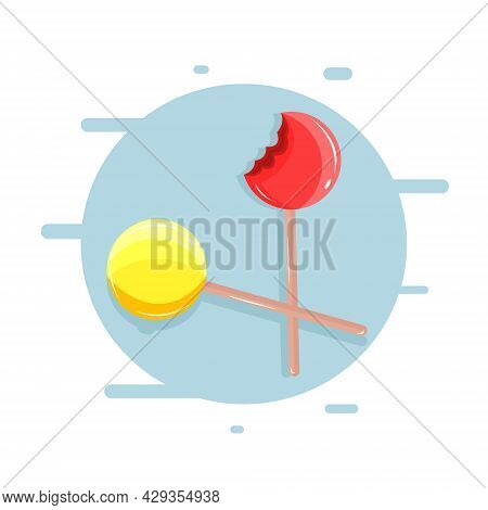 Vector Illustration Of Bitten Lollipop. Yellow And Red Lollipop On The Blue Background. Cranberry An