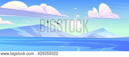 Ocean Or Sea With Mountains And Gulls In Blue Cloudy Sky Scenery Nature Landscape. Fluffy Clouds Fly